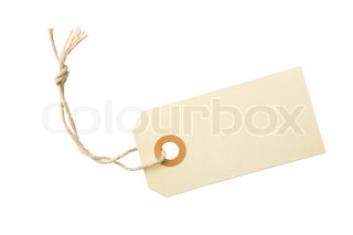 Blank paper tag with cotton string isolated on white background with clipping path