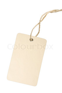 Blank white tag with cotton string isolated on white background with clipping path