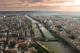 Aerial view on Paris and Seine river as seen from Eiffel Tower