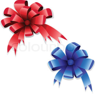 Red and blue bows on white background