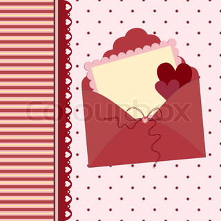 Template for Valentine or Wedding greetings card or postcard