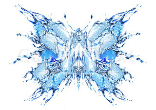 Water butterfly splash isolated on white background