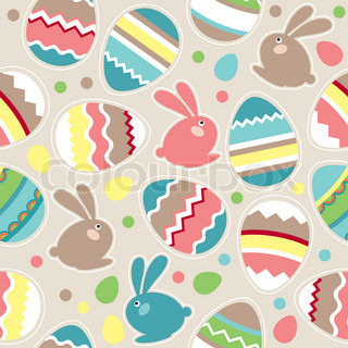 Seamless spring pattern with easter eggs and rabbits