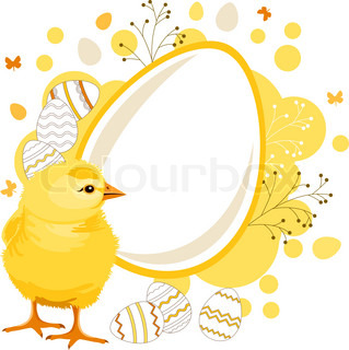 Easter greeting card with eggs and chicken