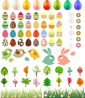 Big collection of easter eggs and animals