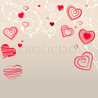 Valentine lykønskningskort med forskellige røde hjerter