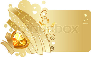 Valentine greeting card with gold ribbon and jewel