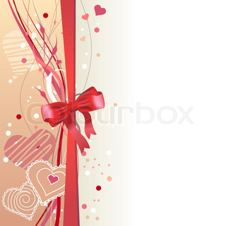 Greeting card with hearts and red bow