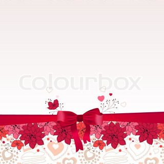 White greeting card with red bow and stylized flowers