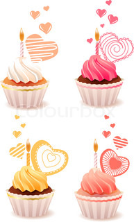 Sweet small valentine cakes isolated on white background