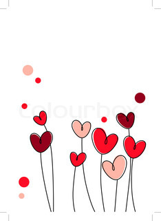 Stylized pink and red hearts on white background