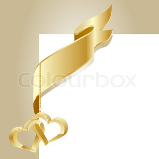 Gold flag with two hanging gold hearts