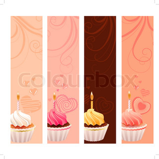 Four banners with sweet small cakes and flourishes