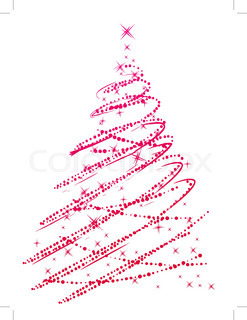 Red stylized christmas tree made of stars