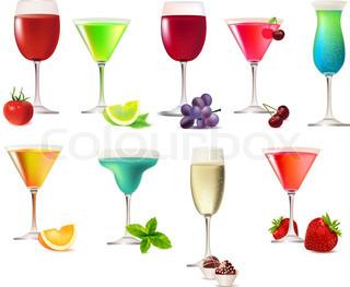 Ni part drinks isoleret på hvid baggrund
