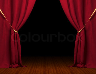Billede af 'rød, gardiner, opsætning'