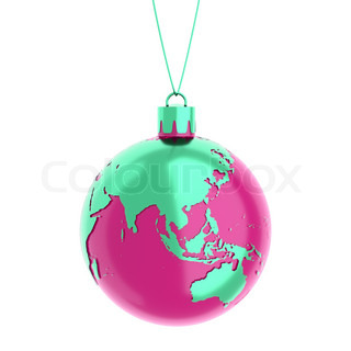 the earth as a christmas ball isolated on white