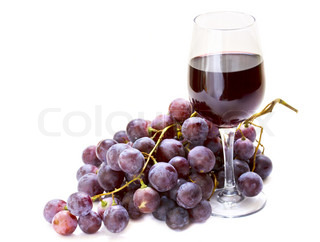 grapes with glass of wine