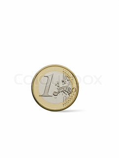 Close-up of an uncirculated one Euro coin