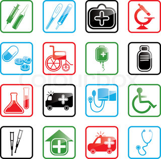 Icon set with medical and healthcare icons