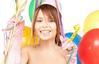 happy teenage party girl with balloons
