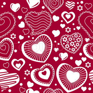 Seamless red background with different contour hearts