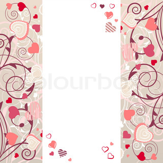 Growing stylized hearts on romantic white frame