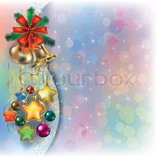 Abstract Christmas background with decorations and ribbons