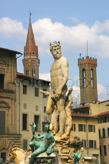 Vertical oriented image of famous Fountain of Neptune in Florence, Italy