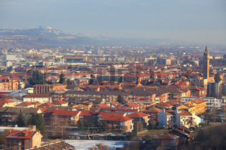 Aerial view on Alba - city in Piedmont region in northern Italy