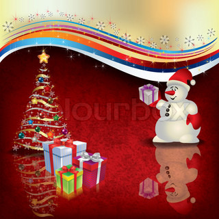 Abstract Christmas greeting with snowman gifts and tree