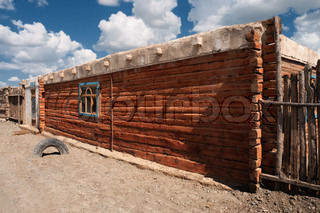 Typical wood house in the village to the west of Mongolia