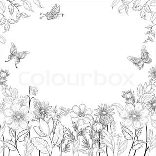 abstract background with a symbolical flowers and butterflies, monochrome contours