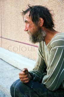 Homeless man on a city street