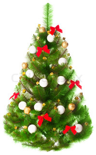 Elegant Christmas tree on a white background decorated with toys