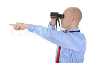 Image of a businessman looking up through binoculars Isolated on white background