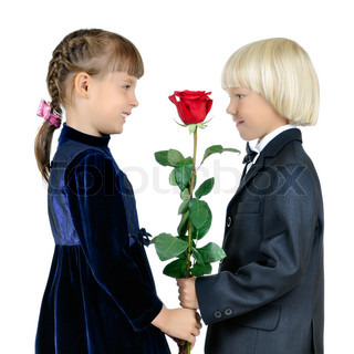 the little boy give rose girl and smile, on white background, isolated