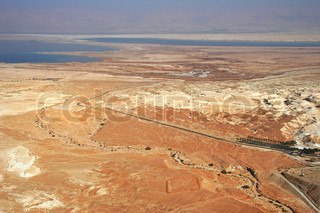 Aerial view on Arava Desert and Dead Sea in Israel