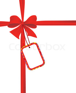 Red bow with a card for the text Vector illustration