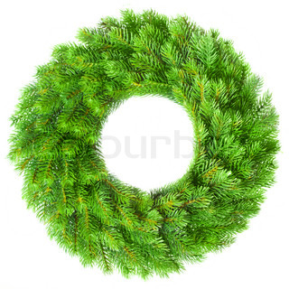 Green round Christmas wreath on white background