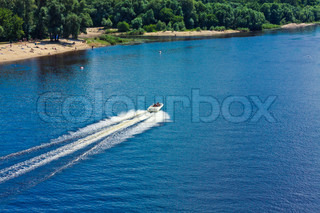 Walking in ithe white boat on the sea