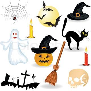 Hat, Kerze , Spinne, Besen, Geister , Friedhof
