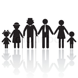 People silhouette family icon. Person vector woman, old man. Kid icon child, grandpa, grandma, granny, grandmother. Generation illustration.