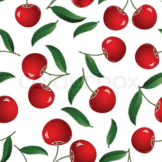Vector fruit icon. Seamless cherry background. Fabric pattern. Tile illustration.