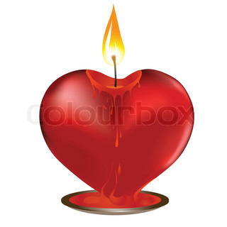 Heart candle flame shape light. Vector Valentine day illustration.