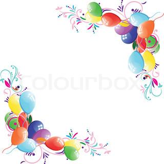 Floral ballon baggrund, fødselsdag ramme , design element, vektor illustration