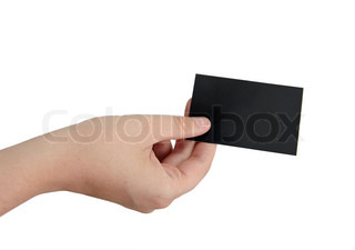 female hand is holding a black blank business card