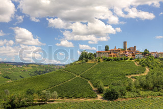 View on vineyards and small town on the hill in Piedmont, northern Italy