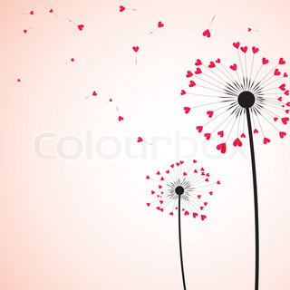 Silhouette dandelion wind, heart arrow vector. Abstract love vintage. Red, pink flower. Valentine, botany illustration.