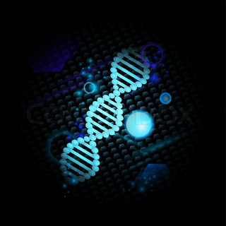 Science theme with DNA over abstract dark background